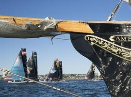 Team Oman Air hunts down Alinghi on second day of Extreme Sailing Series™ San Diego